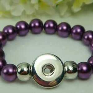 Purple Beaded Interchangeable Snap Button Bracelet